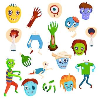 Elementi del fumetto spaventoso zombie colorato e gruppo di divertimento del fumetto del corpo di gente zombie magia