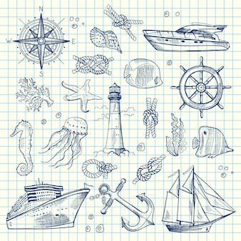 Elementi del mare schizzo di set su notebook