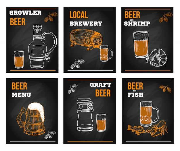 Elementi del menu di birra nello stile disegnato a mano di schizzo