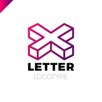 Elementi del modello di disegno dell'icona logo lettera x isometrica
