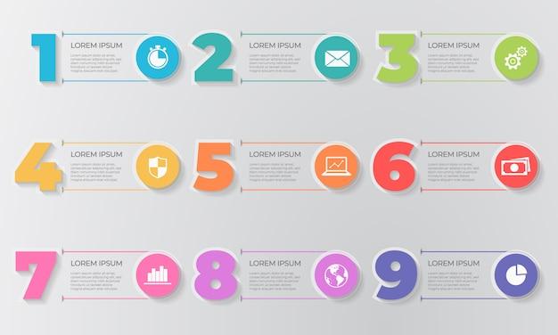 Elementi del modello di infografica numero 9 opzioni