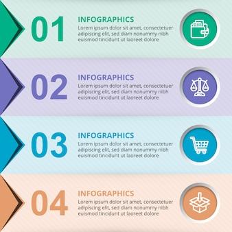 Elementi del modello di infographic di affari di vettore con cerchi colorati