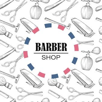 Elementi del negozio del barbiere sfondo pattern di elementi