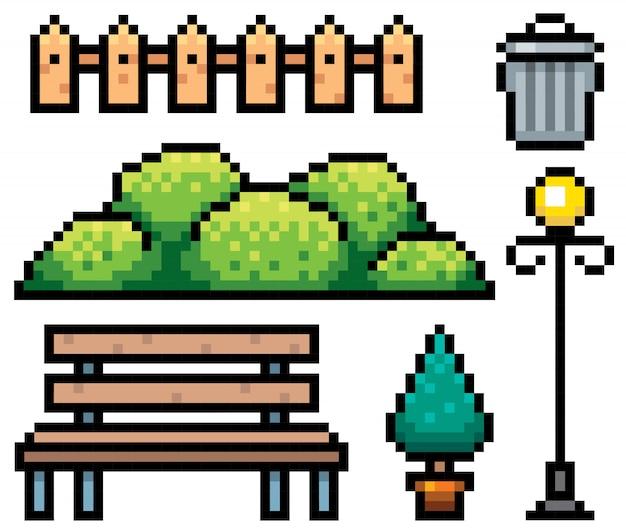 Elementi del parco design pixel