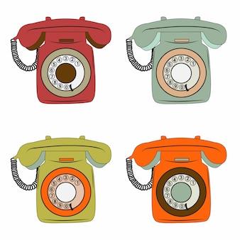 Elementi del telefono retrò impostato su bianco