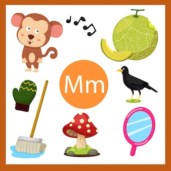 Elementi dell'alfabeto m per bambini