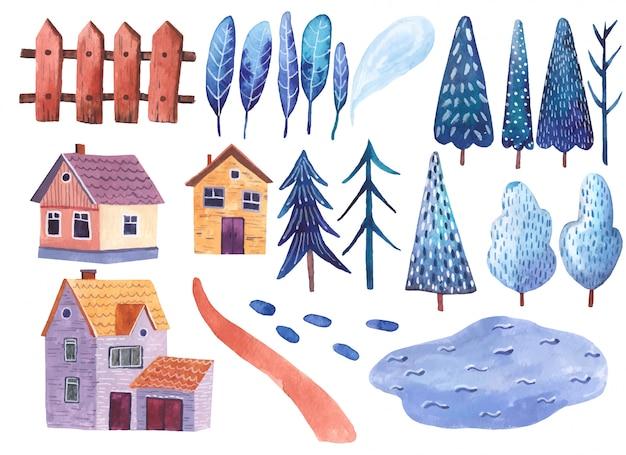 Elementi dell'illustrazione dell'acquerello del paesaggio, del clipart, delle montagne, della strada, delle case e degli alberi su fondo bianco