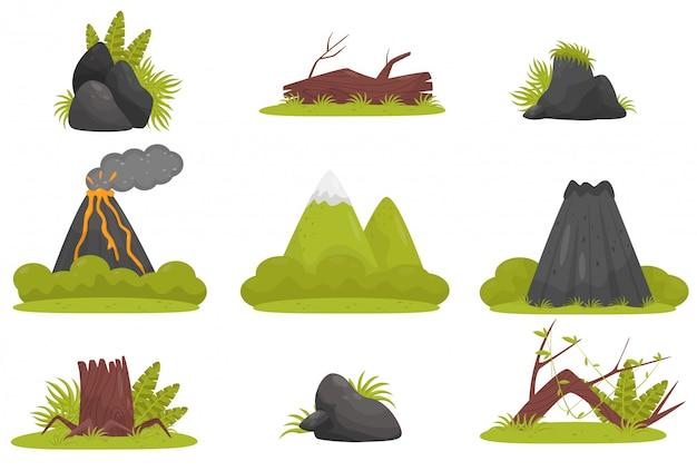 Elementi dell'insieme tropicale del paesaggio della foresta della giungla, vulcano, pietre, montagne, piante illustrazione su un fondo bianco