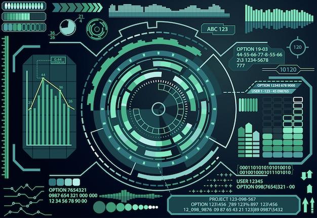 Elementi dell'interfaccia utente tocco grafico virtuale futuristico.