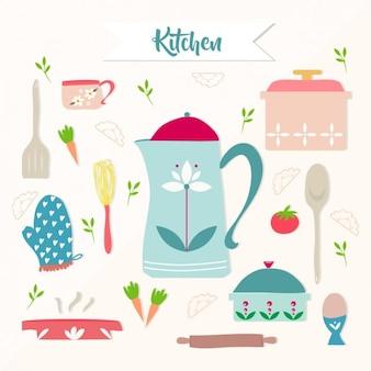 Elementi della cucina colorati
