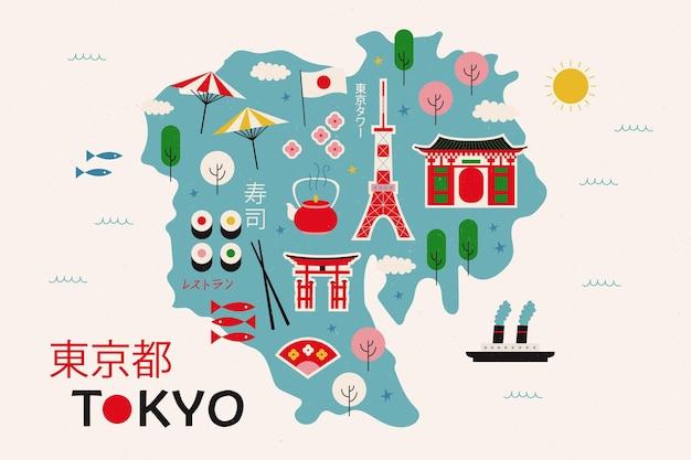 Elementi della mappa di tokyo vintage