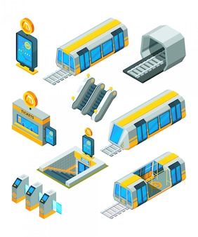 Elementi della metropolitana della metropolitana. entrate i tunnel elettrici dei segni e dei cancelli con le immagini isometriche 3d della stazione della metropolitana moderna della scala mobile