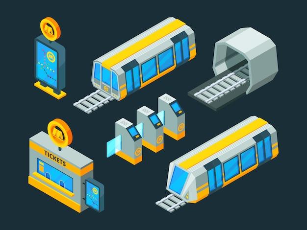 Elementi della metropolitana. immagini 3d isometriche basse del cancello della metropolitana e della metropolitana del treno