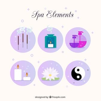 Elementi della stazione termale pacco con il simbolo yin yang