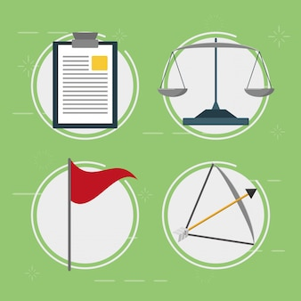 Elementi di affari, equilibrio, bandiera, freccia, stile piano