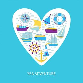 Elementi di avventura del mare sul cuore