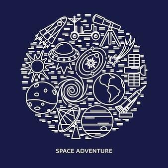 Elementi di avventura spaziale composizione rotonda in stile linea