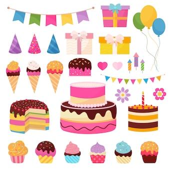 Elementi di buon compleanno con simboli colorati di regali, bandiere, palloncini e dolci