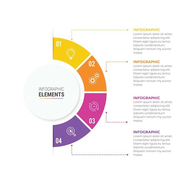 Elementi di business infografica cerchio design icone 4 opzioni o passaggi