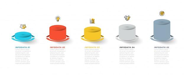 Elementi di business infografica per presentazione, grafico, grafico informativo. cronologia con 6 passaggi, opzioni, icone di marketing. modello vettoriale.