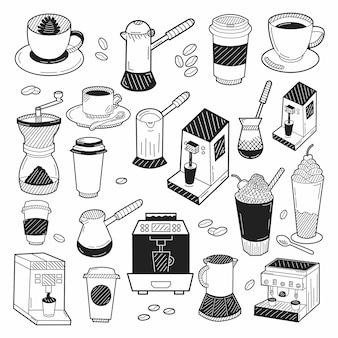 Elementi di caffè disegnati a mano