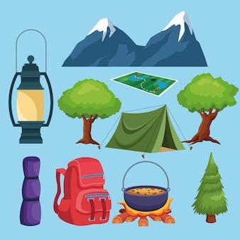 Elementi di campeggio e icone del paesaggio del fumetto