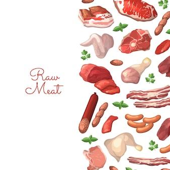 Elementi di carne di cartone animato con posto per il testo