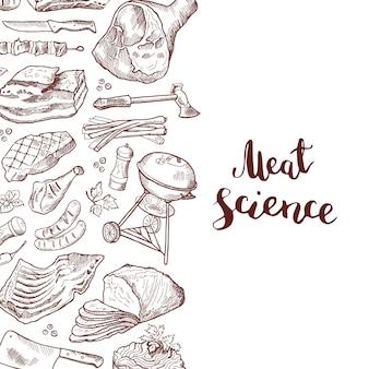 Elementi di carne disegnati a mano banner con lettering