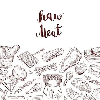 Elementi di carne disegnati a mano con scritte. sketch barbecue e carne alla griglia