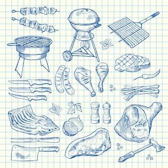 Elementi di carne monocromatica disegnati a mano