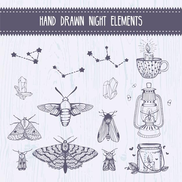 Elementi di collezione notte magica disegnata a mano