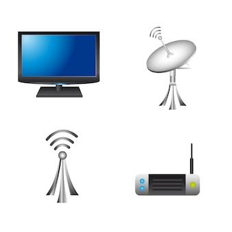 Elementi di comunicazione su sfondo bianco vettoriale