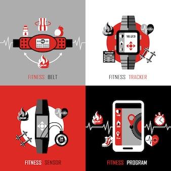 Elementi di concetto di design tracker fitness