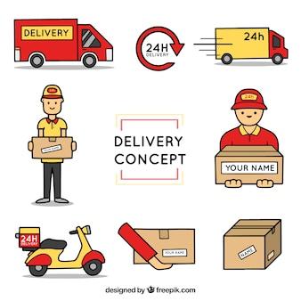 Elementi di consegna con stile disegnato a mano