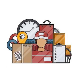 Elementi di consegna in stile linea sottile su sfondo bianco. concetto di logistica, trasporto e servizio di consegna veloce.