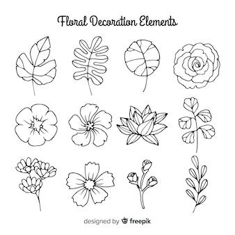 Elementi di decorazione floreale disegnati a mano incolore