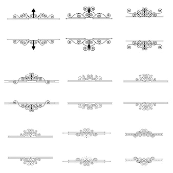 Elementi di design calligrafico e cornici set vintage vector collection