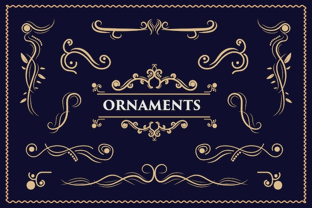 Elementi di design calligrafico ornamenti vintage turbinii e pergamene ornati decorazioni elementi di design