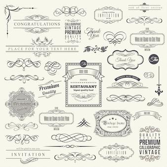 Elementi di design calligrafico, set di frame corner border