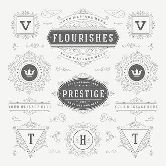 Elementi di design decorazioni ornamenti turbinii e pergamene d'epoca