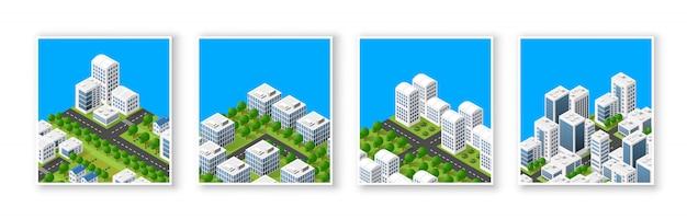 Elementi di design del paesaggio urbano con costruzione isometrica