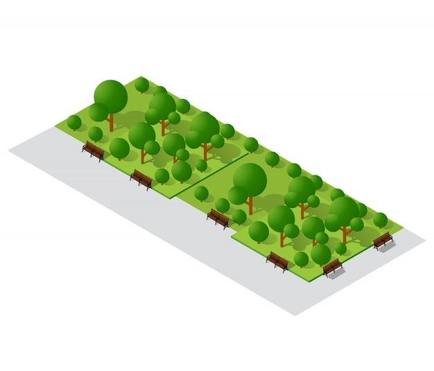 Elementi di design del paesaggio urbano con giardino isometrico