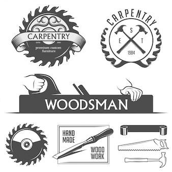 Elementi di design di carpenteria e falegnameria in stile vintage.