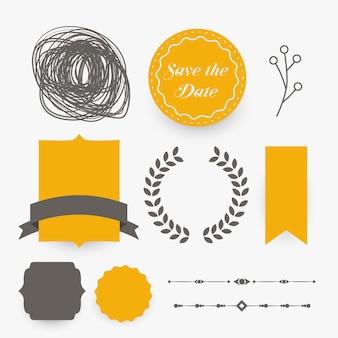 Elementi di design di decorazione di nozze in tema giallo