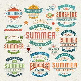 Elementi di design estivo e simboli etichette tipografiche e distintivi