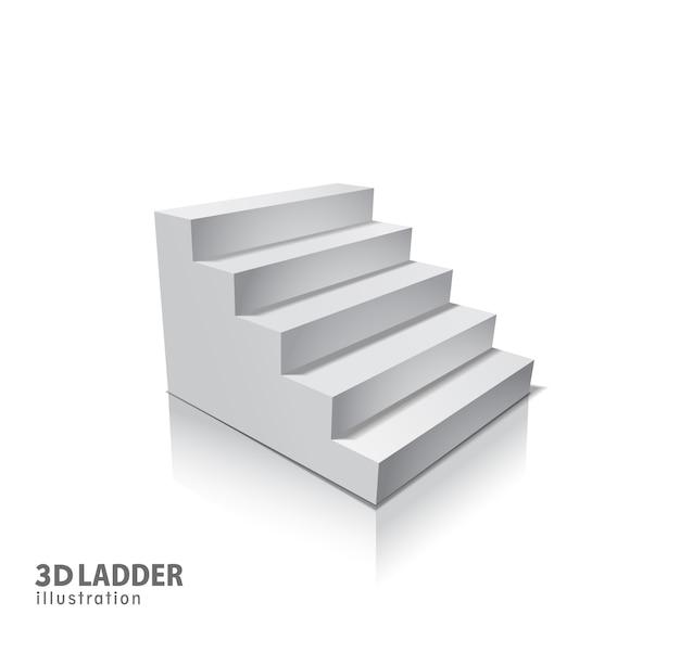 Elementi di design illustrazione realistica di scale bianche con ombra.