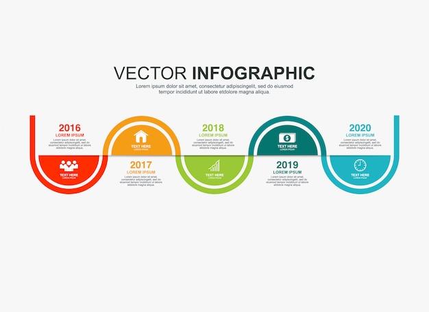 Elementi di design infografico con 5 opzioni