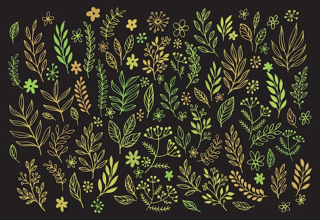Elementi di design lavagna disegnata a mano.