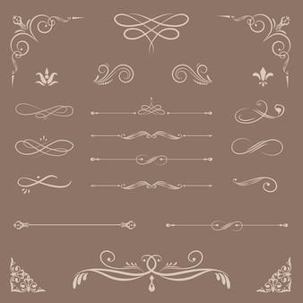 Elementi di design ornamentale d'epoca
