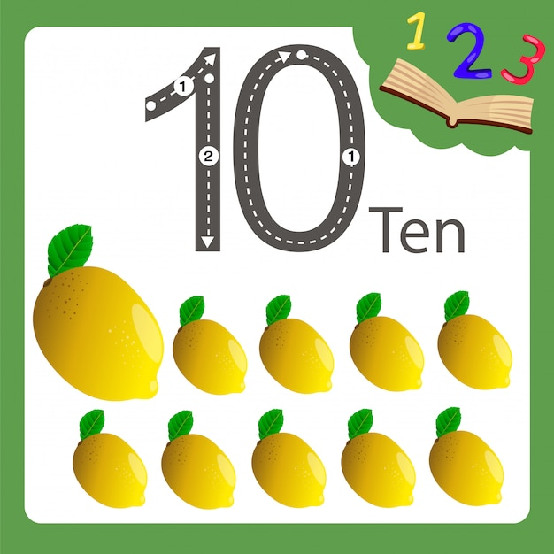 Elementi di dieci numeri di limone